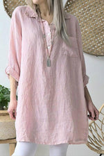Linen Long Sleeves Casual Pockets Blouses