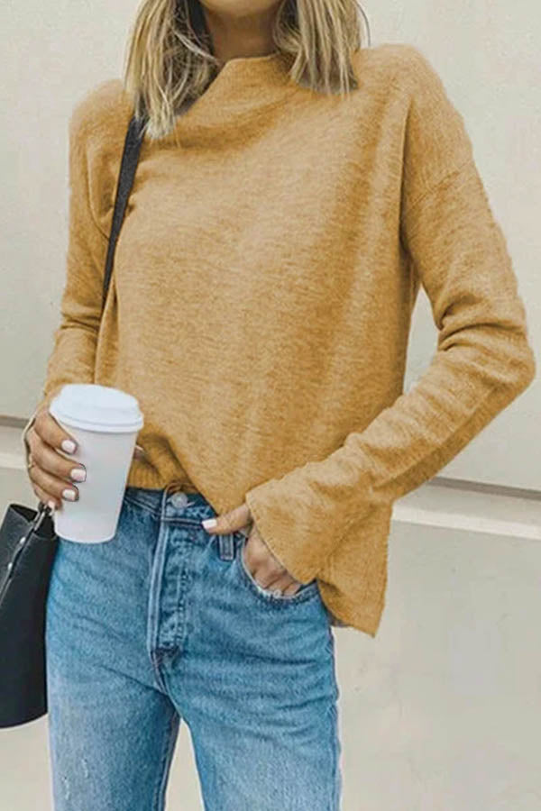 Stand Collar Solid Simple Style Daily Knitted Sweater