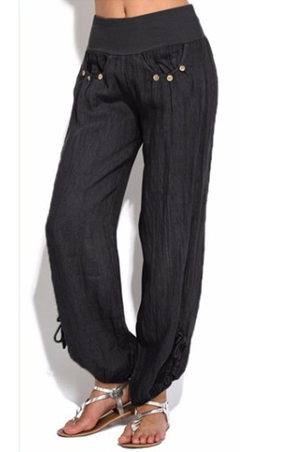 Casual Buttoned High Waist Wide Leg Pants