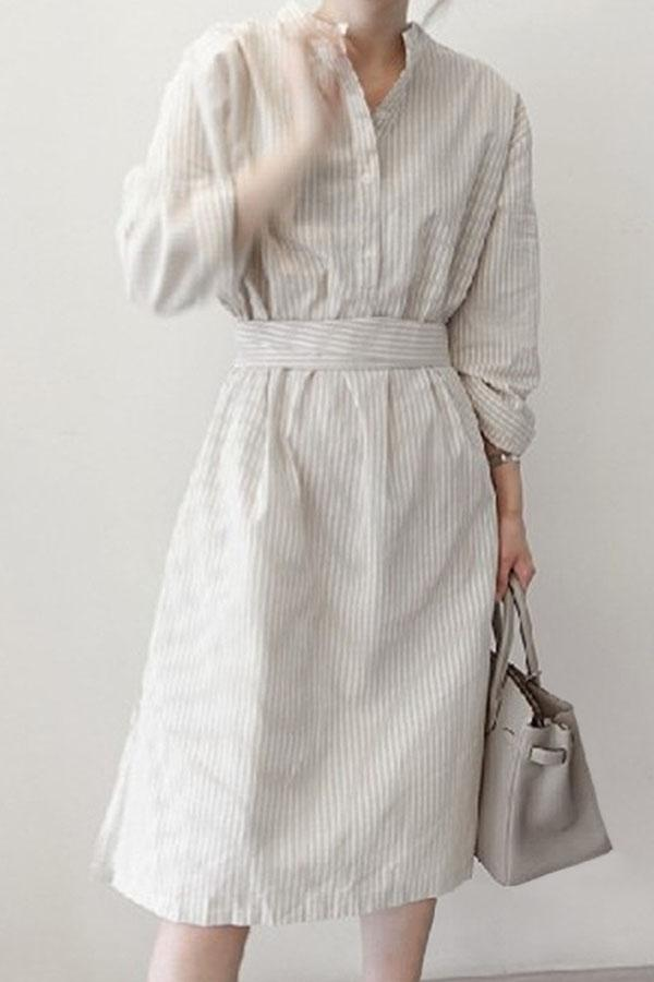 Stripe Shift Buttoned Stand Collar Slit Midi Dress