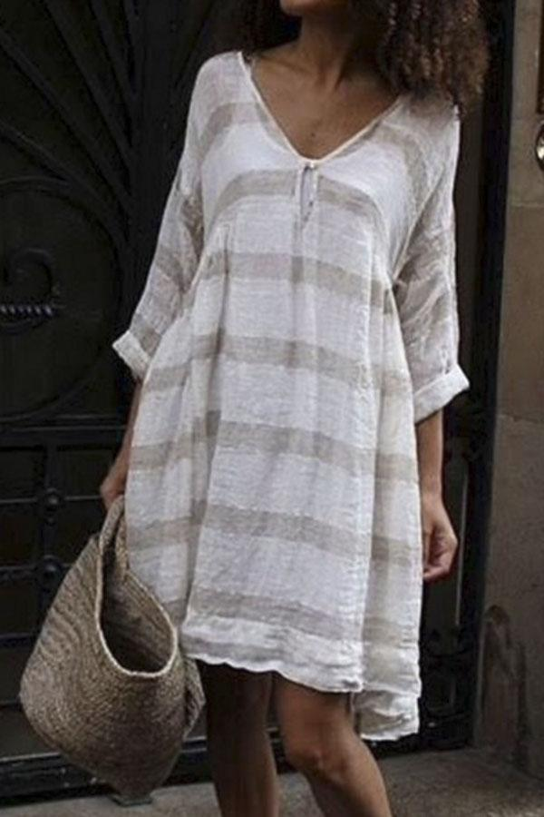 Linen Stripe V-neck Shift Midi Dress