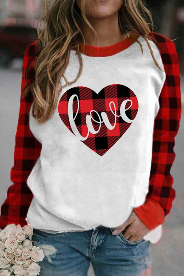 Classic Love Letter Heart Shaped Plaid Print Raglan Sleeves Color Block T-shirt
