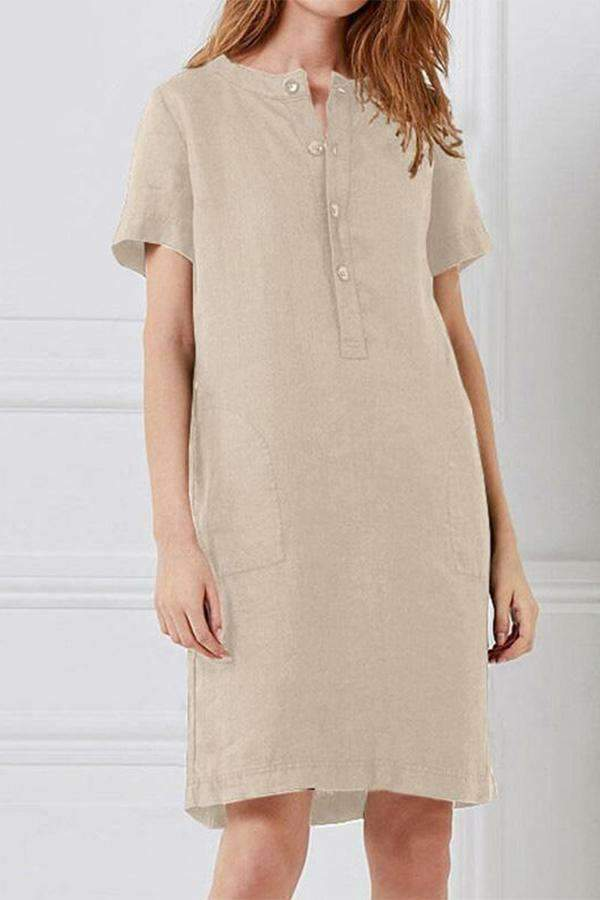 Linen Button-up Front Midi Dress