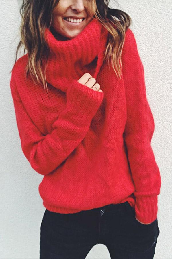 Solid Turtleneck Long Sleeves Sweater