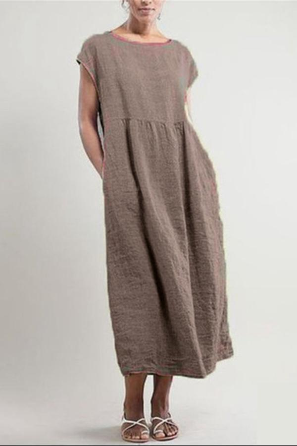Casual Solid Crew Neck Midi Dress