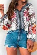Vintage Floral Print Paneled V-neck Balloon Sleeves Blouse