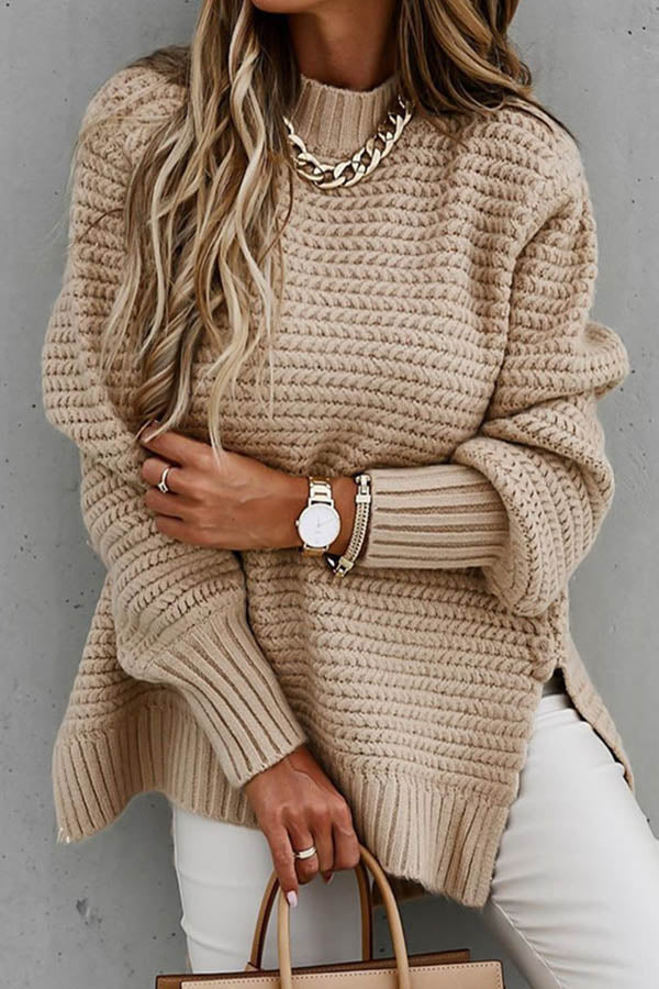 Solid Women Street Knitted Ribbed Stand Collar Slit Sweater