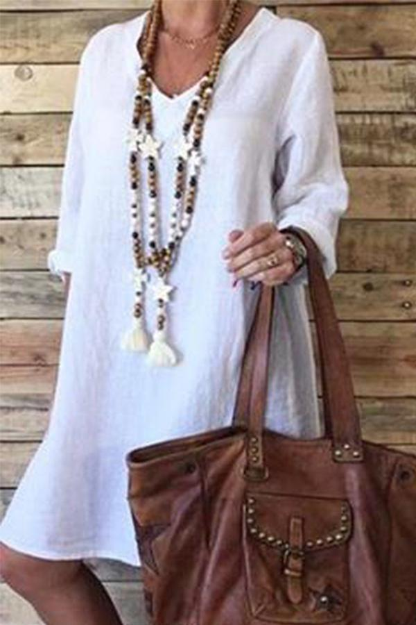 Casual Linen V- neck Long Sleeves Midi Dress