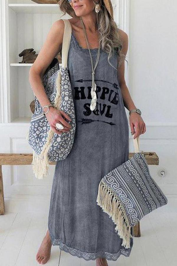 Letter Sleeveless Maxi Dress
