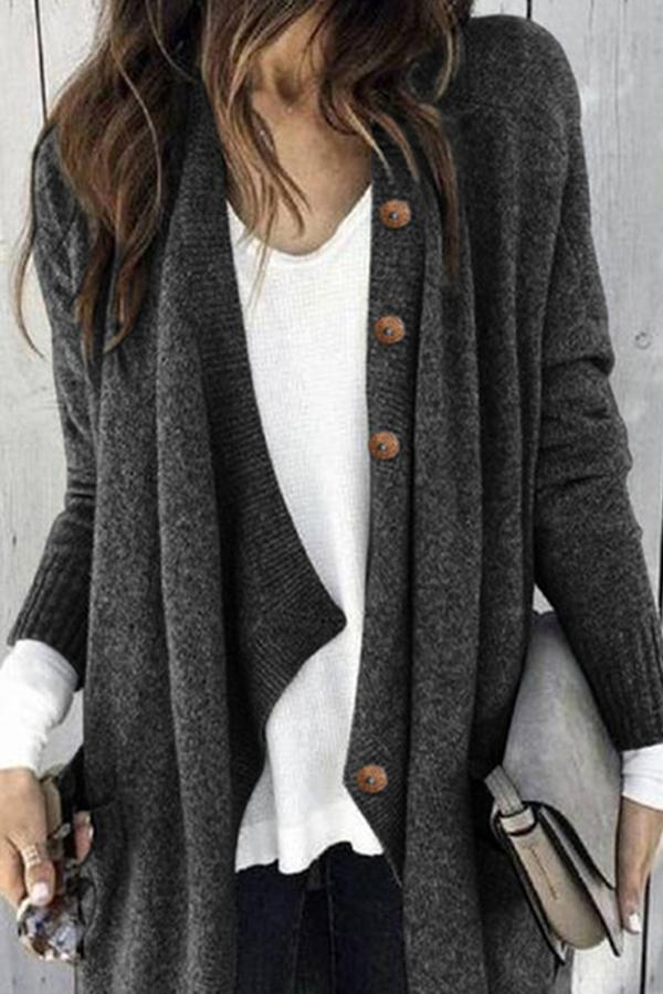 Paneled Solid Buttoned Casual Knitted Cardigan