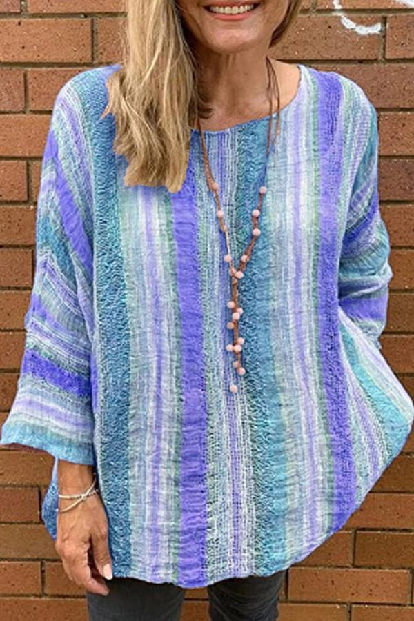 Casual Colorful Stripe Print Top