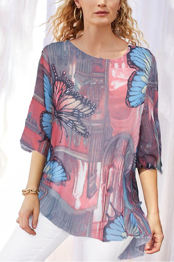 Butterfly Print Paneled High Low Vintage Chiffon Blouse