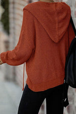 Casual Solid Knitted Ribbed Zipper Front Drawstring Hooded Cardigan