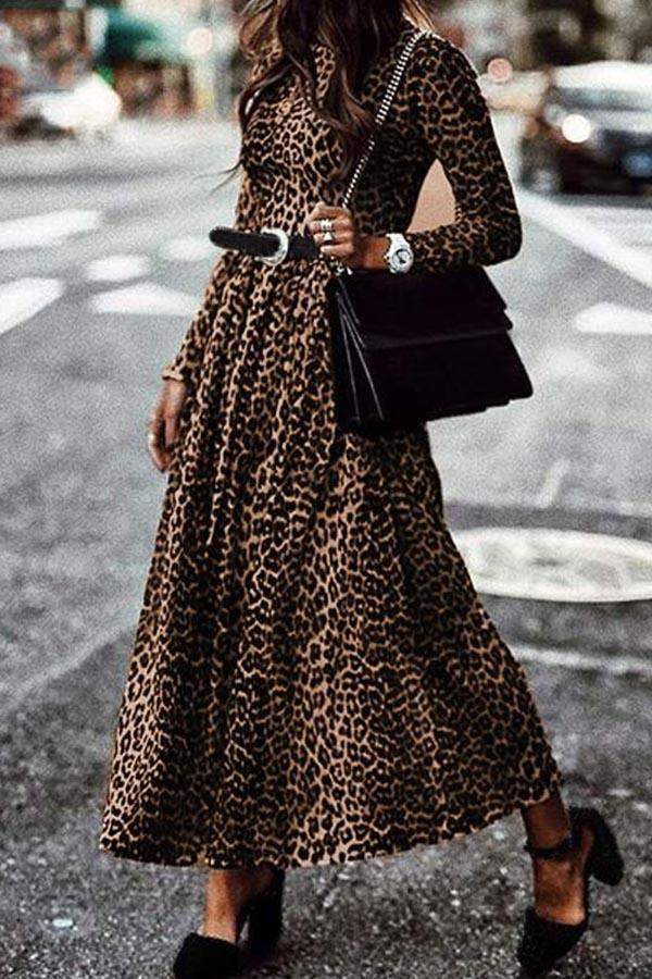 Leopard Print A-line Pleated Vintage Maxi Dress