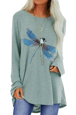 Lifelike Blue Dragonfly Print Casual Long Sleeves T-shirt