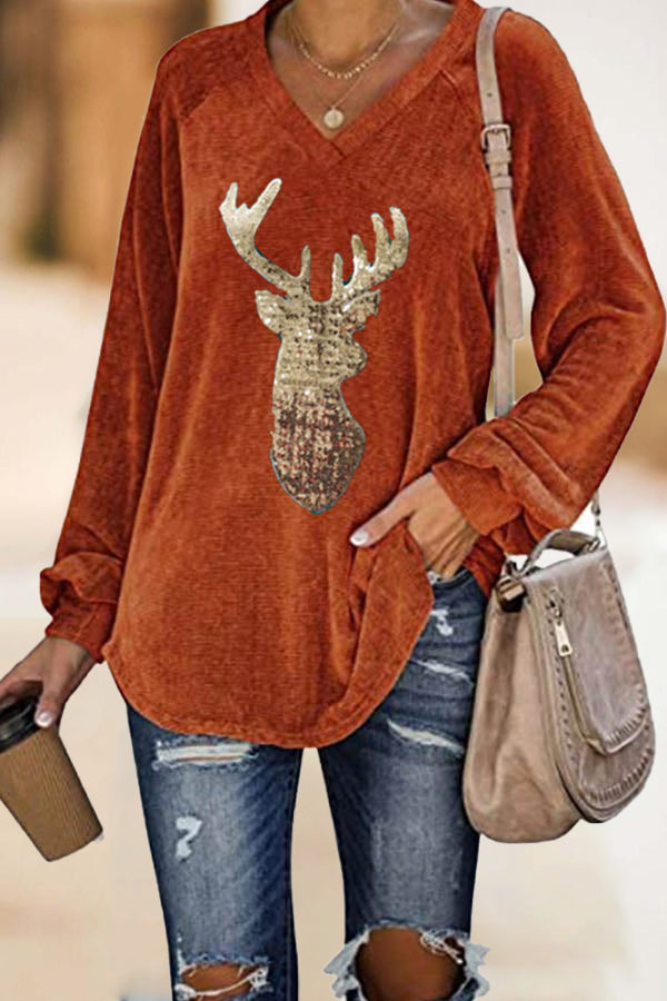 Christmas Elk Sequin Print V-neck Long Sleeves Blouse