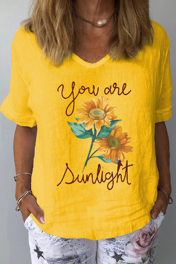 Sunflower Letter Print Paneled V-neck Short Sleeves Casual T-shirt