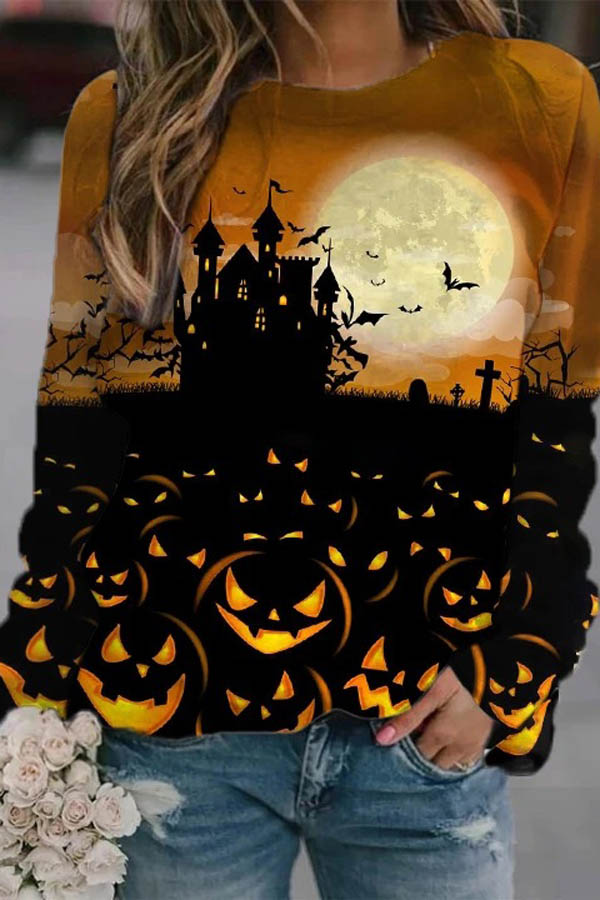 Lifelike Moon Ancient Castle Bat Pumpkin Over The Ground Print Halloween Sweatshirt