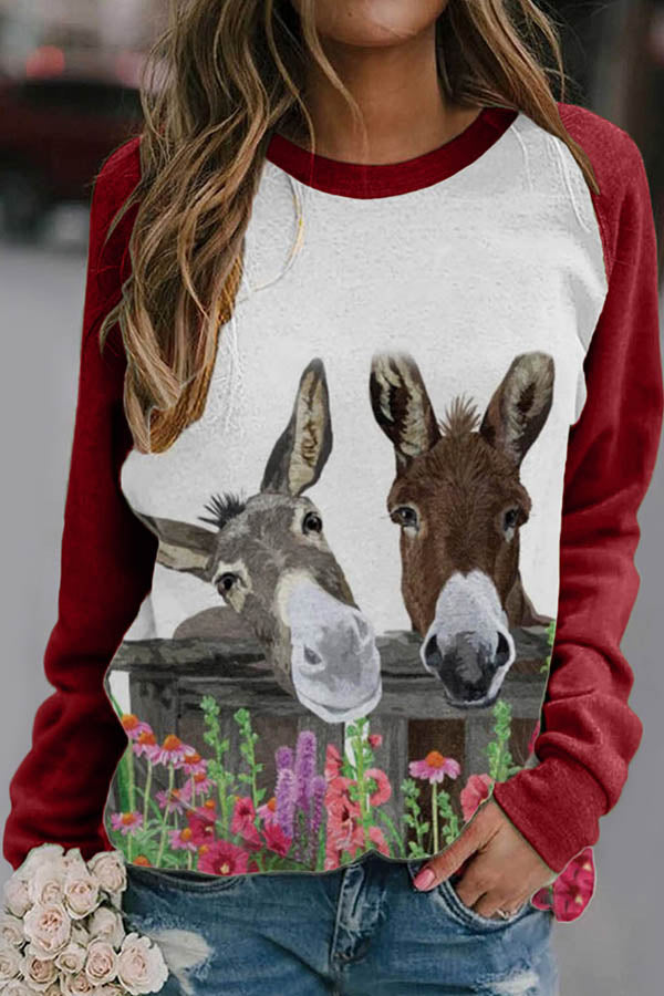 Two Lifelike Donkey With Floral Print Raglan Sleeves Color-block Casual T-shirt