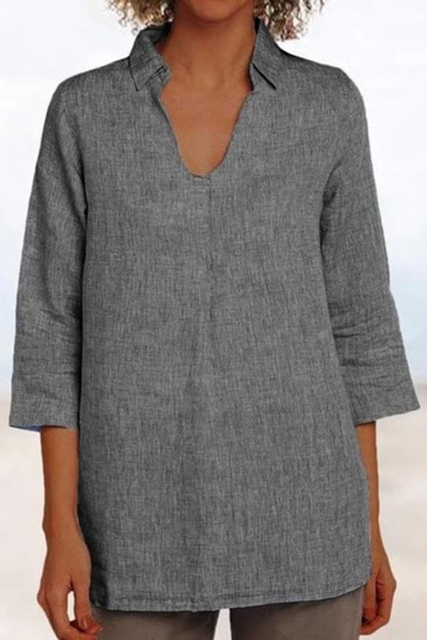 Solid Shirt Collar Linen Blouses