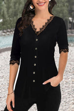 Elegant Paneled Solid Lace Buttons Down Blouse