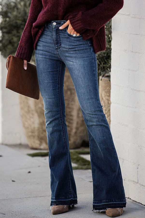 Classic Solid Paneled Side Pockets Bell-bottomed Jeans