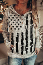 Casual American Flag  Print Front Pocket Buttoned Drawstring Hoodie