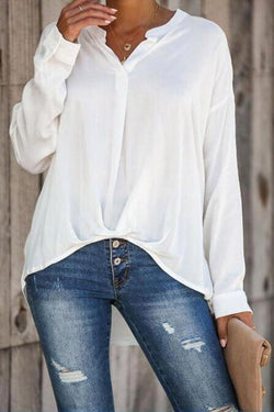 V-neck Linen Solid Long Sleeves T-shirts