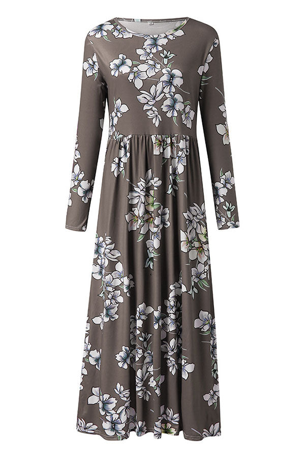 Casual Floral Long Sleeves Round Maxi Dress