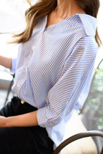 Shift Stripe Print Buttoned Casual Blouses
