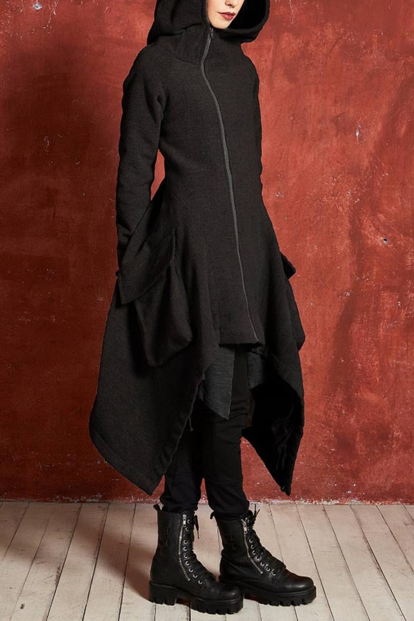 Casual Irregular Solid Hooded Coat