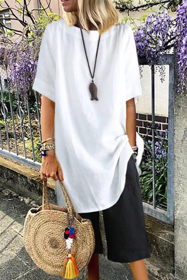 Casual Solid Short Sleeves Round Neck Blouse