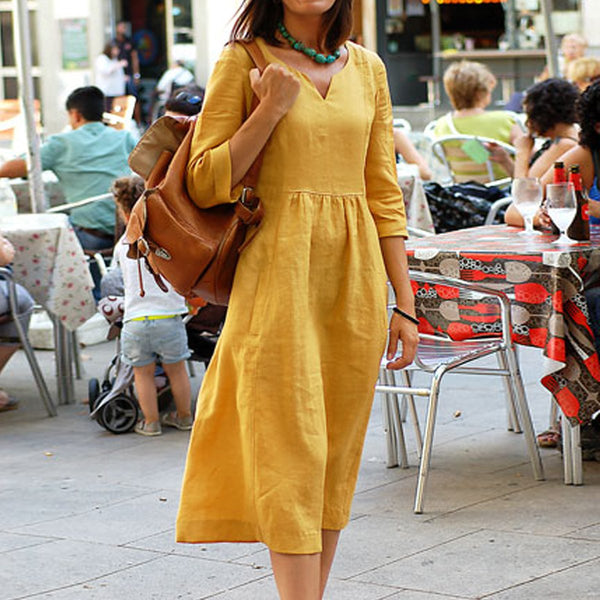 Casual Linen V- neck 3/4 Sleeves Midi Dress