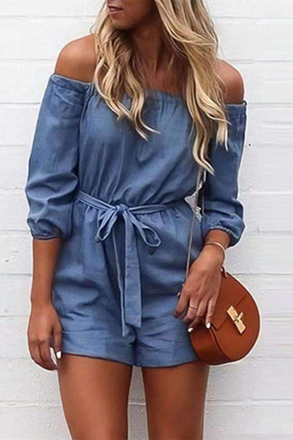 Off The Shoulder Belt Design Denim Romper