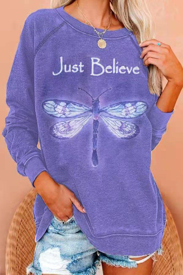 Just Believe Letter With Lifelike Dragonfly Print Raglan Sleeves Sweety T-shirt