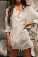 Casual Solid Linen Button Jumpsuit