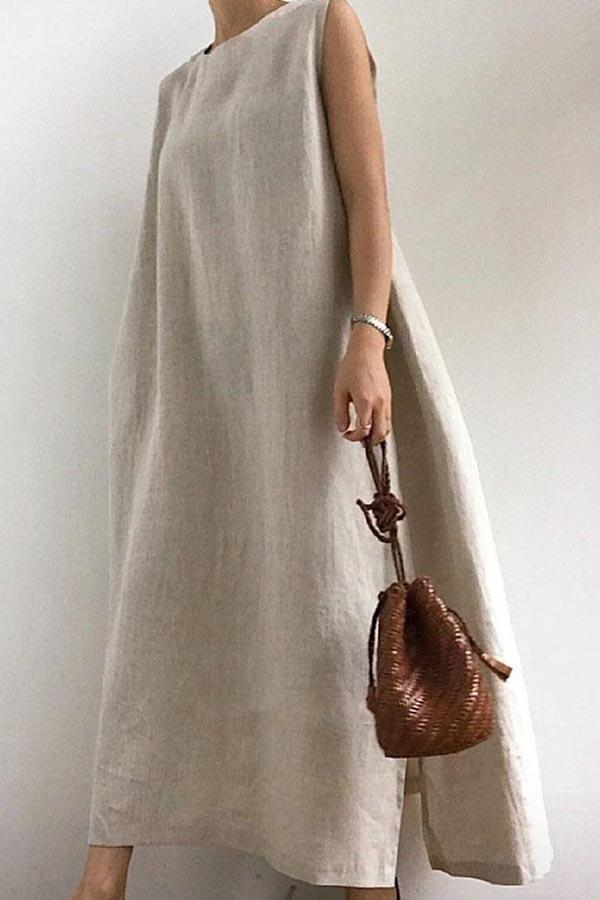 Solid Sleeveless Casual Slit Maxi Dress