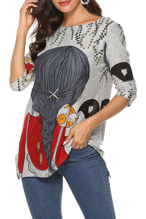 Print Crew Neck Casual Slit Knitted Sweater