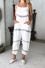 Striped Print Paneled Spaghetti Pockets Casual Jumpsuit
