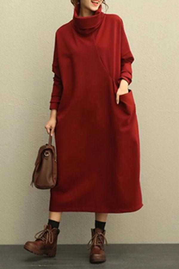 Paneled Solid Turtleneck Pockets Casual Midi Dress
