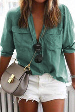 Plain Pockets Front Casual Blouse
