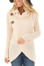 Elegant Solid Pile Collar Buttoned Cross Front Self Tie Knitted Sweater