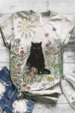 Cartoon Cat Floral Print Casual Paneled T-shirt