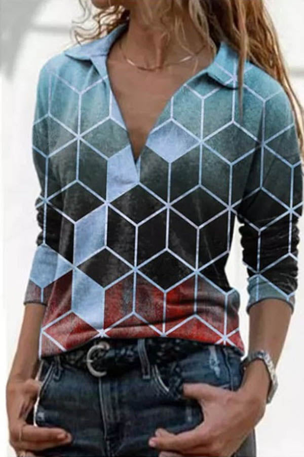 Street Vintage Diamond Gradient Jacquard Sheath Lapel Collar Blouse