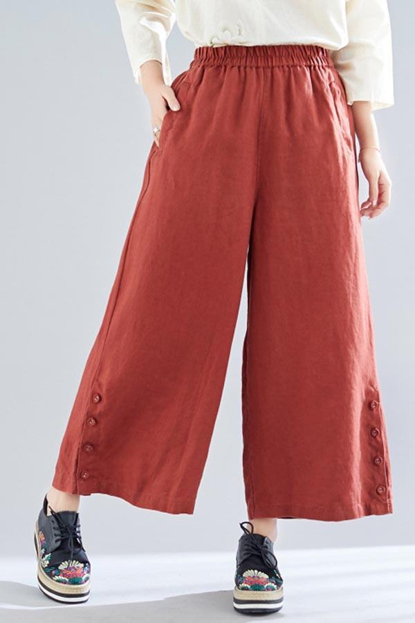 Paneled Solid Buttoned Pockets Slit Wide Leg Pants