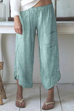 Linen Pockets Design Striped Pants