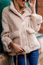 Street Solid Fuzzy Buttons Down Lapel Collar Pockets Coat
