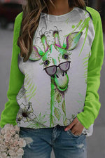 Lovely Giraffe With Floral Leaf Print Raglan Sleeves Bright Color-block T-shirt