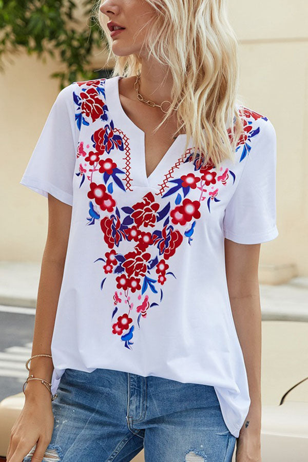 Paneled V-neck Floral Print Casual Short Sleeves T-shirt
