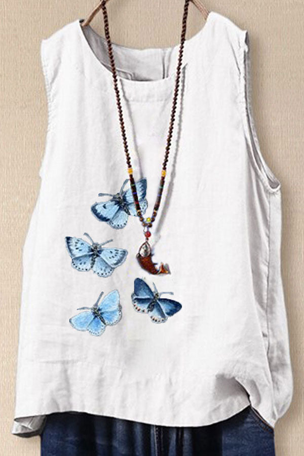 Butterfly Print Crew Neck Paneled Casual Tank Top
